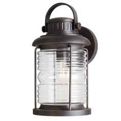 allen + roth Stonecroft 14.86-in H Rust Outdoor Wall Light