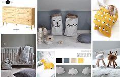 BLOG . nursery moodboard by VIERPUNTTIEN. White, ocher en gray details with natural/woorden influences