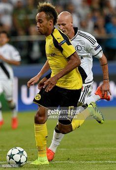 Dortmund's Gabonese forward PierreEmerick Aubameyang on his way to score during the UEFA Champions League group F football match Legia Warsaw v...