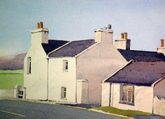Manx cottages Peter Robinson, Painted Houses, Manx, Isle Of Man, House Painting, Artsy Fartsy, Watercolors, Cottages, My Arts