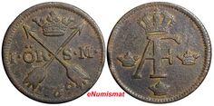 Swedish copper coin, Adolf Frederik, 1759, 1 öre silvermynt (silver coin), KM# 460