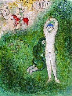 Marc Chagall - Daphnis et Gnathon. Color Litograph, 1961