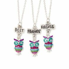 Glitter Owls Best Friends Pendant Necklaces Set of 3 from Claire's. $14.50