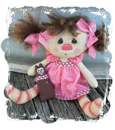 Annie with her Kitty Doll Instant Download e Pattern