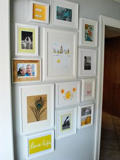 "Mementos:  Young House Love wanted to ""wallpaper"" their hallway walls with personalized DIY art instead of pricey wallpaper. They framed sentimental keepsakes like fortune cookie fortunes, family photos and even some pretty nontraditional items like a handkerchief and some keys."