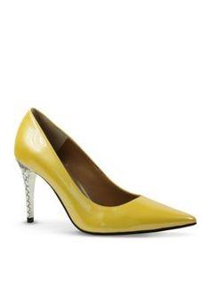 J Rene233 Lemon Maressa Stiletto Pump With Snake Print Embossed Heel