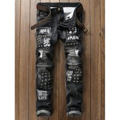 Plus Size Stud and Appliques Design Zipper Fly Straight Leg Jeans