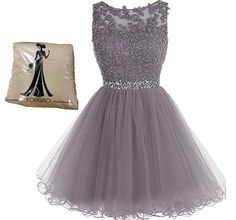 Yougou Women's Tulle Short Applique Beading Formal Homecoming Cocktail Party Dress US 16 Purple