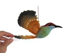 Hand Carved Bird Mobile Blue Breasted Bee Eater Wood by MyFanbirds
