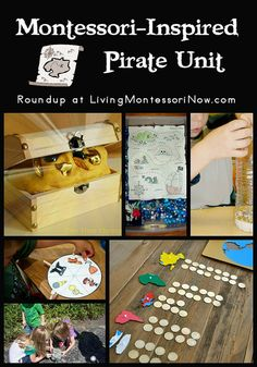 Roundup of free pirate printables and lots of Montessori-inspired pirate activities Preschool Pirate Theme, Pirate Activities, Preschool Themes, Montessori Activities, Toddler Activities, Preschool Activities, Classroom Themes, Summer Activities, Pirate Day