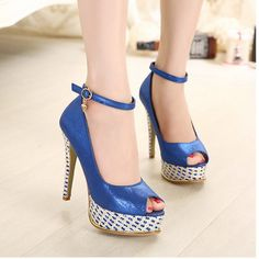 US$ 59 Women Sexy Belt Strap Splice Open Toe Platform High Heels Pumps Stilettos Shoes