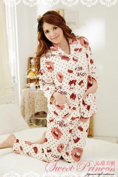 Pajama Set: Bear-Print Fleece Top + Pants, Off,White , One Size - Sweet Princess | YESSTYLE Australia