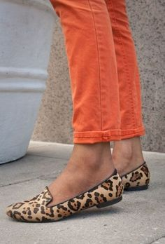 orange and leopard, I love my leopard skin shoes!