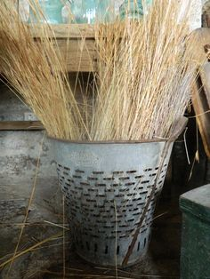 Rustic Metal Olive and  bucket baskets from Turkey...Excellent condition...for kindling?