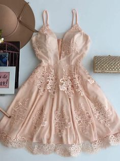 A-line Appliqued Spaghetti Strap Homecoming Dresses Lace mini dresses, lace dresses