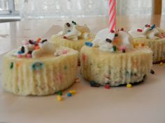 Funfetti cake batter mini cheesecakes with vanilla oreos for the base. These look super yummy and fun.
