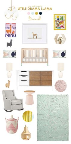 "I'm loving this sweet inspiration today; I've been seeing quite a few llamas around lately, and as I frequently am telling Vivi to ""stop being a drama llama!"" it makes for a cute space! I also couldn't resist after seeing these sheets!  I love that new interpretation of the favorite martini side table, too, and […]"