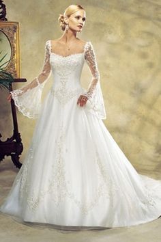 A-line Square Chapel Train Bell Tulle Plus Size Wedding Dress For Brides
