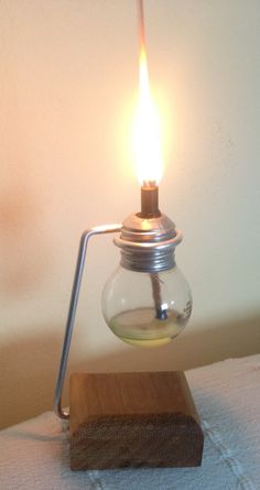 Recycling an old light bulb to oil lamp.