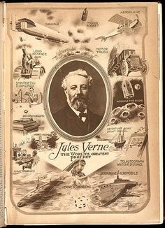"""""""Jules Verne The World's Greatest Prophet"""" Brief tribute to Jules Verne's birthday, the French author of many science fiction classics such as Leagues under the Sea and Around the World in 80 Days. Can be found at the Smithsonian Libraries. Science Fiction, Science Experiments, Leagues Under The Sea, Around The World In 80 Days, Lectures, Retro Futurism, Dieselpunk, Book Lovers, Vintage World Maps"""