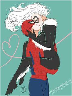 Spiderman X Black Cat Spiderman Black Cat, Spiderman Kunst, Black Cat Marvel, Amazing Spiderman, Spiderman Anime, Hq Marvel, Marvel Girls, Marvel Dc Comics, Marvel Heroes