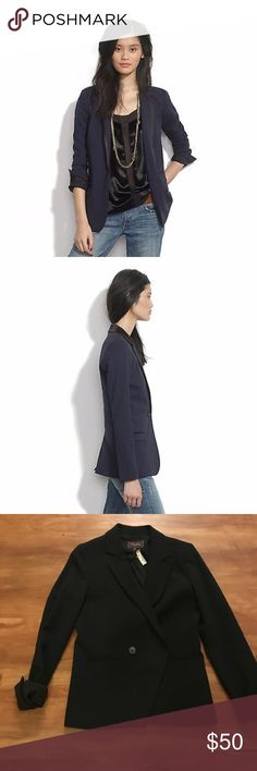 Madewell Buckley Tailors Blazer - Dark Navy - Sz 0 Beautifully made Madewell blazer. It's slightly oversized. Never worn, with tag, size 0. This is from the Madewell Buckley Tailors line. Color is dark navy, almost black. Madewell Jackets & Coats Blazers