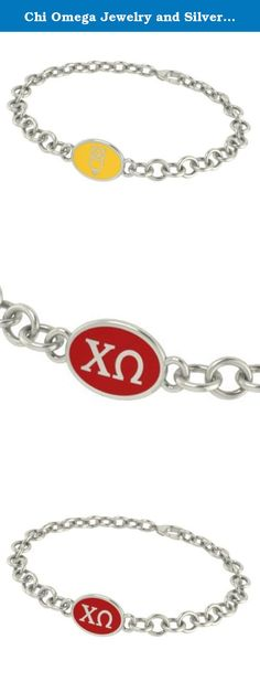 Chi Omega Jewelry and Silver Bracelets. Our Chi Omega sorority jewelry and bracelets are made in solid sterling silver with a high quality sterling silver enameled charm. Our bracelets have the finest detail and are the highest quality of any Chi Omega sorority bracelet available. In stock for fast shipping and if for some reason you don't like it? Send the bracelet back for a full refund..... Chi Omega Silver Jewelry - Silver Link Bracelet.... Metal: Sterling Silver.... Background…