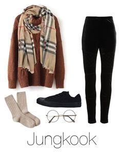 """""""School with Jungkook"""" by infires-jhope on Polyvore featuring BP., Converse, Burberry and Brooks Brothers"""