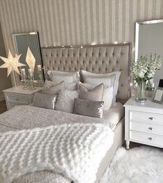 Bedrooms, master room, bedroom decor glam, bedroom themes, bedroom co Grey Bedroom Decor, Stylish Bedroom, Home Bedroom, Bedroom Ideas, Master Bedroom, Bedroom Decor Glam, Taupe Bedroom, Silver Bedroom, Ikea Bedroom