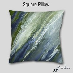 Update your home decor or man cave with this abstract decorative throw pillow in navy blue, olive & sage green. Artist: Denise Cunniff - ArtFromDeniseDecor. View more info at https://www.etsy.com/listing/287648449