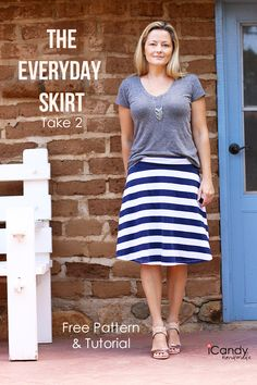Simple everyday skirt with yoga style waistband (FREE pattern Size M, with tutorial) | iCandy