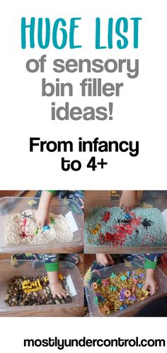 Huge list of sensory bin filler ideas! Do you feel stuck when making sensory bins for your kids or students? Here is a printable list of filler ideas. #sensoryplay #sensorybinfillers #sensorybinfillerideas