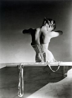 Horst P. Horst, Mainbocher Corset (pink satin corset by Detolle), Paris, 1939. © Horst Estate/Conde Nast