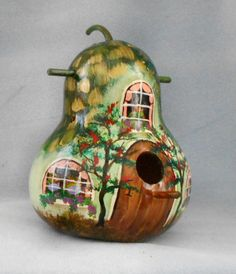 Green Hand Painted Thatched Cottage Birdhouse Gourd