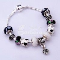 Barbara丨Murano glass Beads 925 Silver Charm Heart-shaped Bracelets for Women Jewelry (Size 18cm/20cm/21cm)