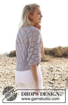 "Knitted DROPS bolero with lace pattern in ""Big Merino"". Size: S - XXXL. Free pattern by DROPS Design."