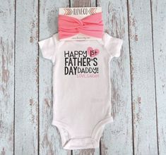 Father's Day Outfit Onesie and Headband / Customized First Father's Day / Customized Onesie with matching Child headband. *** Discover even more by clicking the photo link