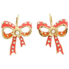 Betsey Johnson Farmhouse Bow Drop Earrings ($35) ❤ liked on Polyvore