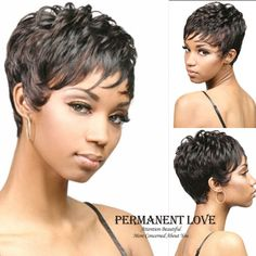 synthetic Short Natural black curly wig for black women pixie cut Heat Resistant discount  african american hair wigs with bangs