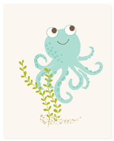 octopus  art print  nursery art for children by SeaUrchinStudio, $15.00
