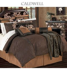 Caldwell Western Bedding - comforter set features a rich chocolate brown tooled faux leather comforter with concho accents. A lighter brown micro suede accent highlights the bedskirt and two tone neckroll pillow. #Western #Style #design #home #decor #BeddingNMore