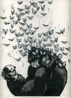 woodcut ,, gorilla skull butterfly illustration