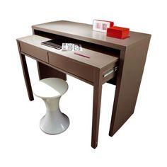 bureau console 2 tiroirs laque mat