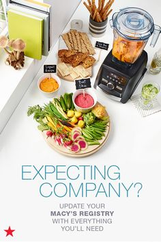 Love hosting parties and having guests over? Make sure you have everything you need by adding anything that's missing to your Macy's Registry. Head to macys.com now to update your list with cleaning supplies, serveware, towels and a Vitamix blender, so you can whip up the perfect appetizer in a snap!