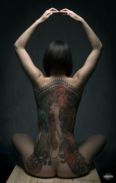 Model Ninette Shibara with her Mucha tattoo