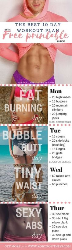 You've discovered the best home workout plan that you can use to tone up and shape up fast. This workout schedule is only 10 days which is perfect to start