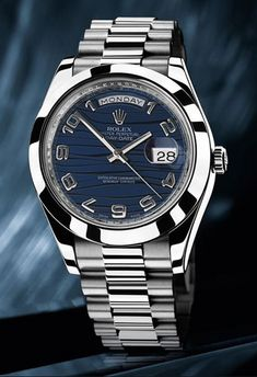 Rolex Day-Date II President Platinum 218206 blue wave dial Diesel Watches For Men, Rolex Watches For Sale, Armani Watches, Mens Sport Watches, Vintage Watches For Men, Luxury Watches For Men, Audemars Piguet, Patek Philippe, Stylish Watches