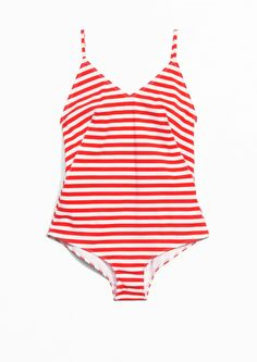 & Other Stories image 1 of Strap Back Swimsuit in Stripe