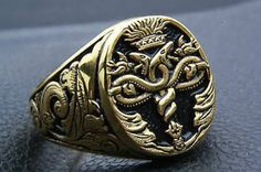 Hermes Rod Crest Ring Noble Family Gold Plated Signet