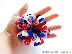Loopy bow using 40 pieces of 3/8 inch ribbon. Hair Bow Tutorial, Ribbon Bow Tutorial, How To Make Bows, How To Make Hair, Making Hair Bows, Bow Making, Diy Hair Accessories, Cute Bows, Ribbon Bows